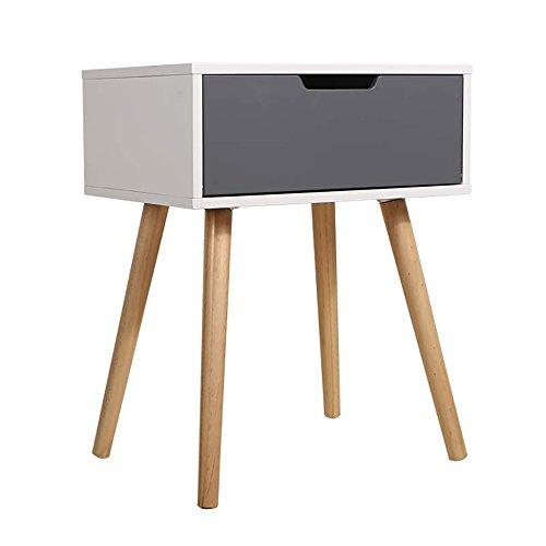 Comodino in legno bianco/grigio Comodino con cassettiera in legno ...
