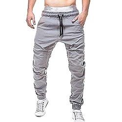 Yowablo Herren Hose Cargo Jogginghose Lässige elastische Jogginghose Sport Solide Baggy Pockets Hose (XL,1Grau)