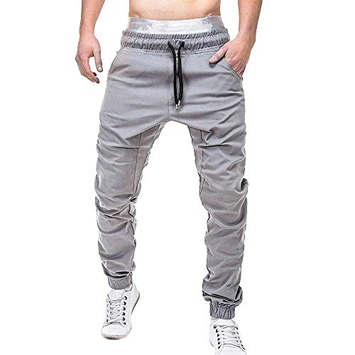 Herren MäNner Einfarbig Hosen LäSsige Elastische Joggings Sport Solid Baggy Pockets Hose Sweatpants Gesteppt Mit Seitentaschen Cargo Jogger Trainingsanzug Slim Fit Casual Work(Grau,XXL) 3-pocket-cargo