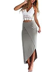 Ruiying (Set de 2) Falda Verano con Top Camiseta Franja de Encaje Falda de Tubo Vestido Ropa Mujeres Casual Playa - Blanco y Gris