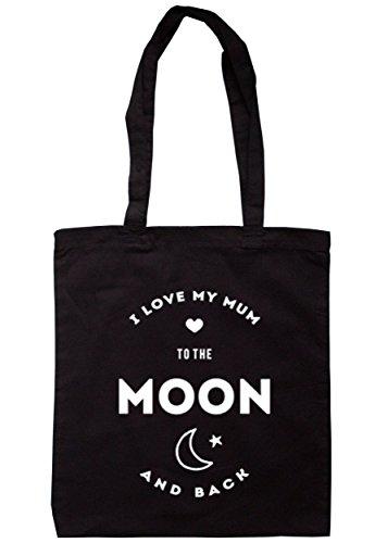 breadandbutterthreads i love my mum to the Moon and Back Borsa 37,5cm x 42cm con manici lunghi Black