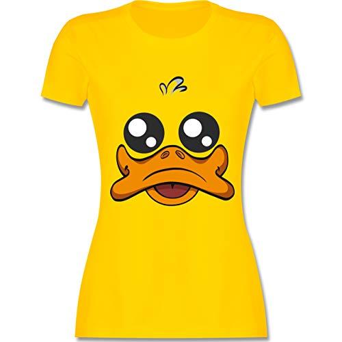 Karneval & Fasching - Ente Kostüm Gesicht - M - Gelb - L191 - Damen Tshirt und Frauen T-Shirt (Ente Donald Kostüm)