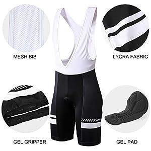 INBIKE Maillot Ciclismo Corto De Verano para Hombre, Ropa Culote Conjunto Traje Culotte Deportivo con 3D Almohadilla De Gel para Bicicleta MTB Ciclista Bici(Blanco,M)