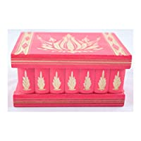 Hidden Compartment Safe Stash Puzzle Jewelry Box Lock Key Wood Brain Teaser Gift Idea Keepsake Pink