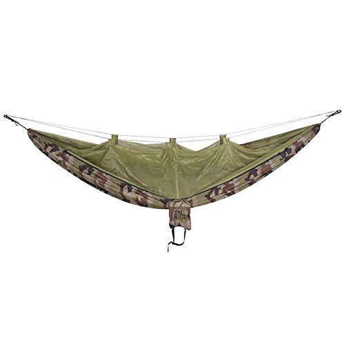 OneTigris Camping Hängematte mit Moskitonetz (inkl. Karabiner und Seile) Belastbarkeit 200kg (Camo) Camo Moskitonetz