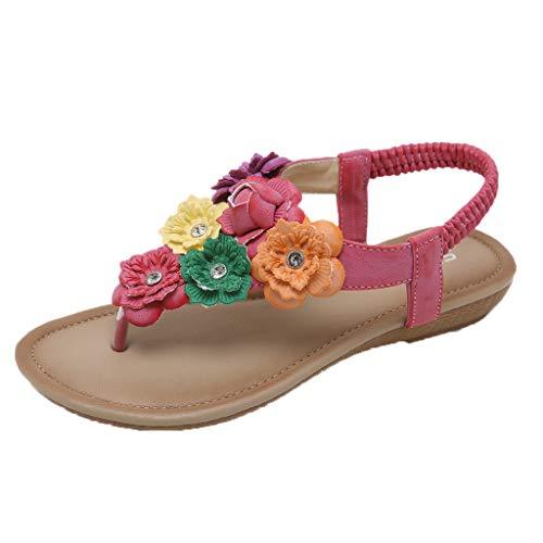 Make Fortune 2019 Sandalen Damen Sommer, Sandalen Outdoor Strand Sandaletten mit Blumen Strass der ethnischen Frauen böhmischen Blumen Wohnungen Bequeme Strandschuhe (Converse Frauen Blumen)