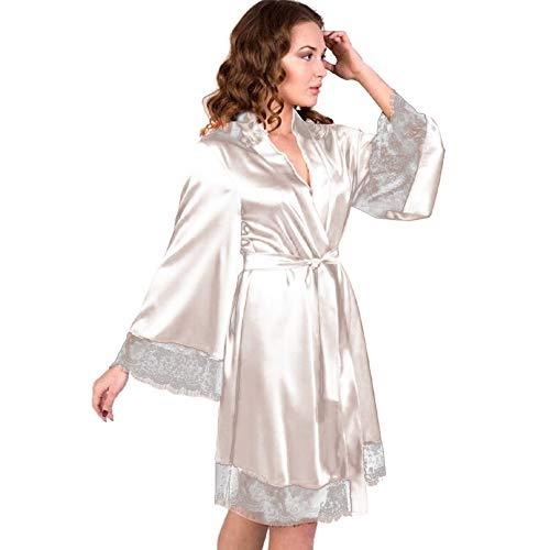 Dorical Damen Morgenmantel Maxi Lang Seide Satin Kimono Kleid Einfarbiger Bademantel Damen Lange Robe Reine Farbe Schlafmantel Nachthemd Nachtkleid Spitze Nachtwäsche mit Gürtel(Medium,Weiß)