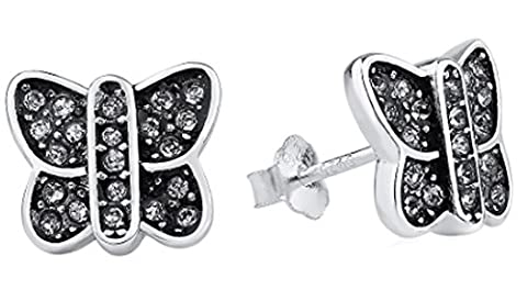 SaySure - 925 Sterling Silver Earrings Clear CZ Crystal