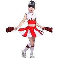 SMACO Traje de la Animadora de los niños/niñas Uniforme Cheerleading Rojo Azul,Red,110CM