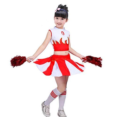 SMACO Cheerleader-Kostüm für Kinder/Mädchen Uniform Cheerleading rot blau,Red,130CM (Kind Maskottchen Kostüme)