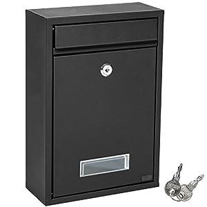 tectake Briefkasten Briefkastenanlage 215 x 90 x 320 mm mit Namensschild aus Stahl - diverse Farben - (Schwarz   Nr. 401511)