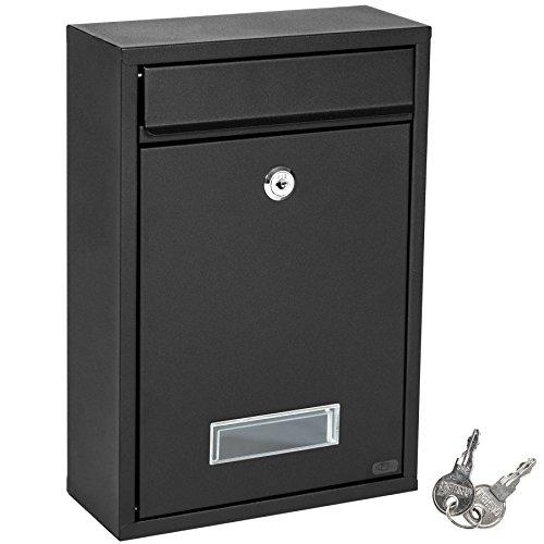 TecTake Briefkasten Briefkastenanlage 32,5 x 21,5 x 85 cm mit Namensschild aus Stahl schwarz