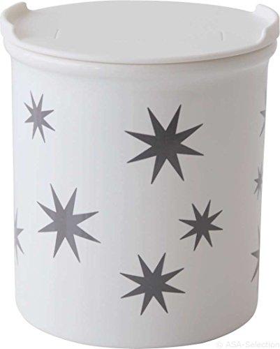 ASA 4871045 Vorratsdose - Dose - Porzellan - Sterne - weiß/grau Höhe 10 cm Ø 9 cm