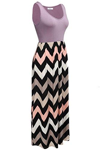 CRAVOG Damen Sommer Casuai gestreift Kleid Strand Kleid Maxikleid  Cocktailkleid Lila ...