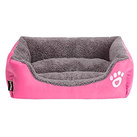 Pet Bed for Cats and Small Medium Large Dogs Rectangle Cuddler Ultra-Soft Plush Solid Pet Sleeper Machine Washable (Medium, Rose)