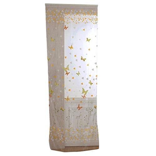 Vorcool transparente voile tende farfalla sciarpa tenda decorativa di tenda per camera da letto soggiorno–misura 100x 270cm (giallo e verde)