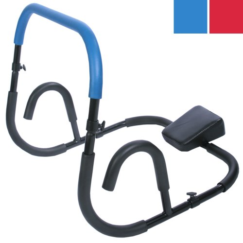 Physionics Bauchtrainer/AB Trainer | inkl. Knieauflage Fitnessgerät für Sit-Ups, rutschfeste Griffflächen, in Blau | Bauchmuskeltrainer, AB Roller, Rückentrainer