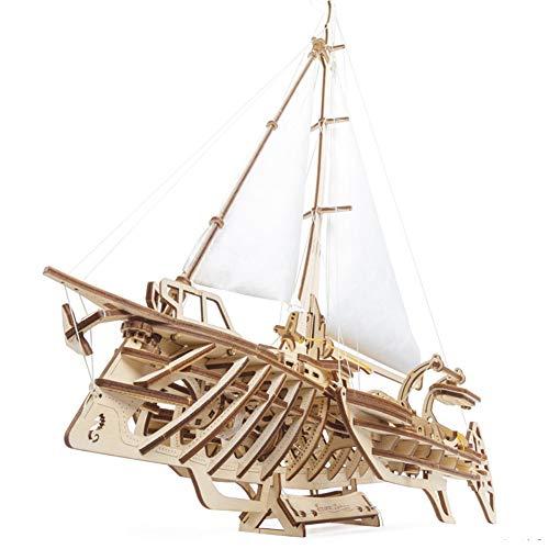 Handmade story 3D Holzpuzzle, Laser-Schnitt-HöLzernes Puzzlespiel,DIY Boot Spielzeug Mechanismus,HöLzernes Modell GebäUde,Geburtstags, Kinder Und Erwachsene
