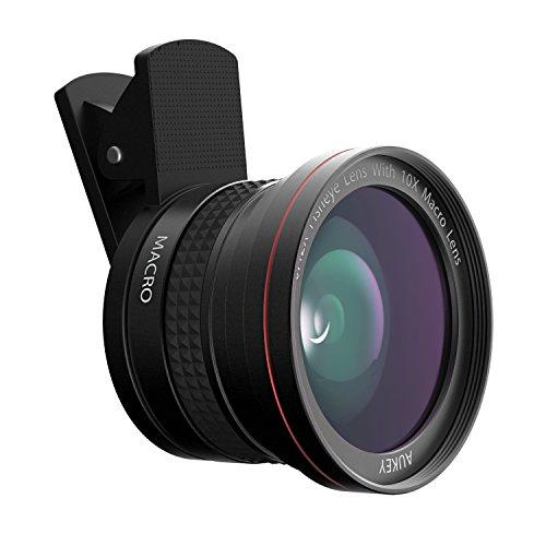 AUKEY PL-F1 Kit de 0.42 X Objectif Fisheye à 180° avec 10 X Objectif Macro pour iPhone 6/6 plus/6s/6s Plus/iPad/Samsung/Wiko/Tablette/etc. Noir