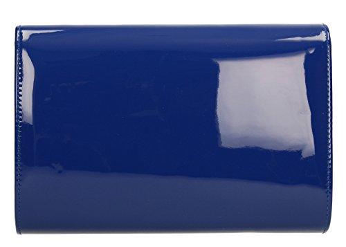 Chrissy-Sandalo da donna, in pelle verniciata per Night Out, con pochette Celebrity SWANKYSWANS Royal Blue