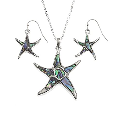 BellaMira Abalone Starfish Pendant Necklace & Earrings Natural Paua Shell Silver Plated Yoga Meditation Mystic Healing Jewellery for Girls Women Gift Boxed (Jewellery