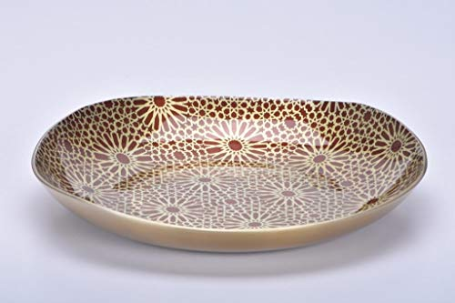 Jasper - Designer Plate Food Grade with Geometric Pattern for Home Gifts, Nuts, Cookies & Multipurpose (Champagne-10 inch)