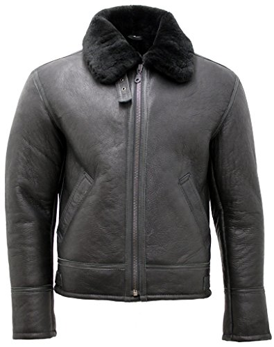 Giacca in pelle di pecora reale pelliccia volante uomo nero 'Air force' (Pelliccia Bomber Giacca In Pelle)