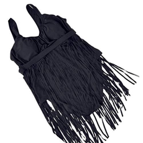 Größe XL-6XL Rock Badeanzug Plus Größe Volltonfarbe Einteilige Badebekleidung Frauen mit Fransen Sexy Schwimmen Badeanzug @ Black_5XL