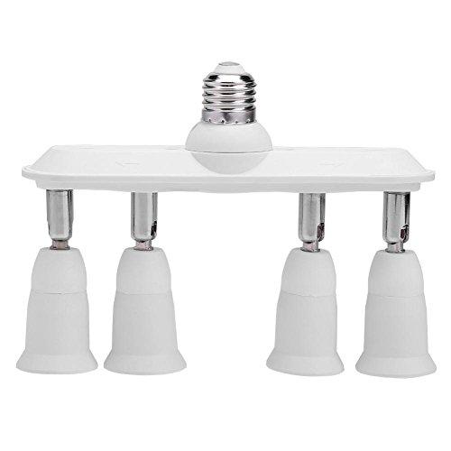 Starnearby 4 en 1 répartiteur adaptateur de douille de lampe ampoule à vis E27/E26 vers 4e27/E26 LED support de lampe de conversion à 360 ° réglable