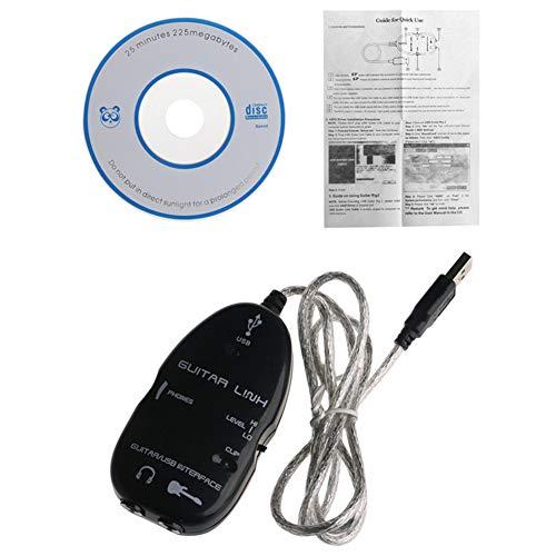 DSstyles - Cable de audio para guitarra, adaptador de interfaz de conexión USB para accesorios de grabación de música MAC/PC, negro