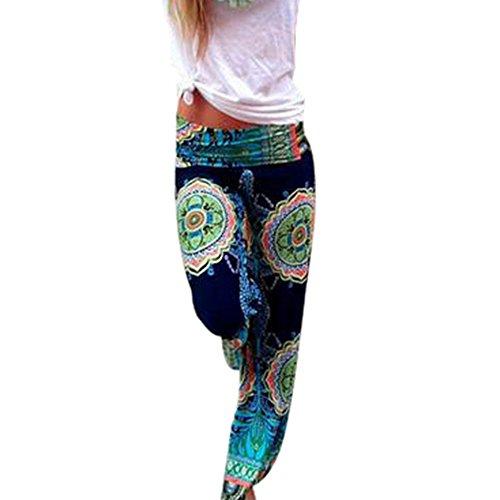 Dihope Femme Sarouel Pantalon Imprimé Longue Bouffant Palazzo Casual Hip-hop Pants pour Yoga Fitness