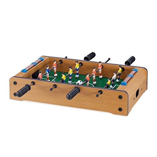 Relaxdays Tischkicker, Kinder, Erwachsene, Holz-Optik, robust, Tischfußball, H x B x T: 11 x 51 x 50 cm, grün-braun