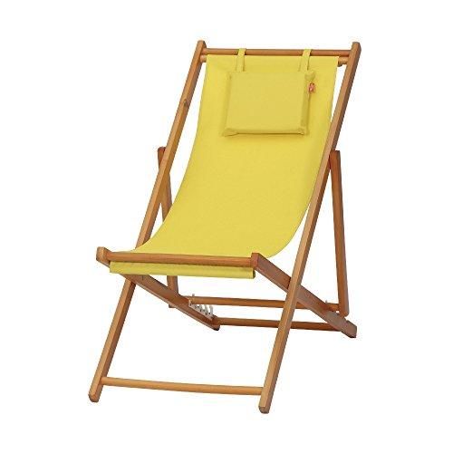 Siena Garden Faro Strandliegestuhl, Bezug gelb, Hartholz-Gestell