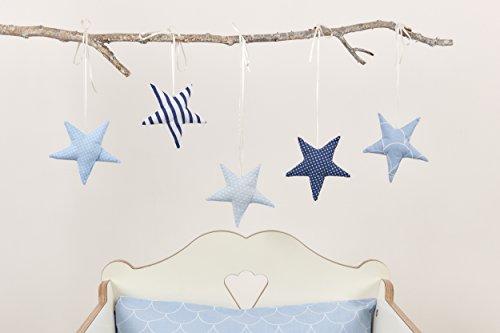 KraftKids Dekoration Stoffsterne blau weiß