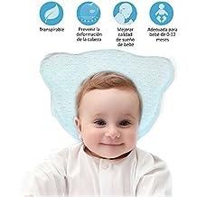 Almohada Bebe Plagiocefalia-Almohadas para Bebes Recién Nacidos Almohadas Ortopedicas para Prevenir la Plagiocefalia y Cabeza Plana Espuma con Memoria Funda Extraíble y Lavable Cojín de Bebé, Color Azul
