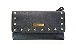 Tommy Hilfiger Black Saffiano Studs Continental Checkbook Clutch Wallet