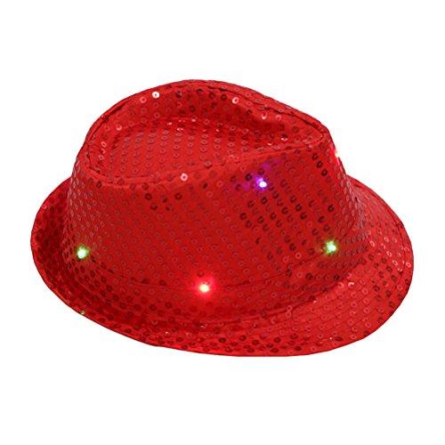 LUOEM LED Party Hut Jazz Hut Blinkende mit Pailletten für Silvester Party Kostüm Unisex Erwachsene (Rot)
