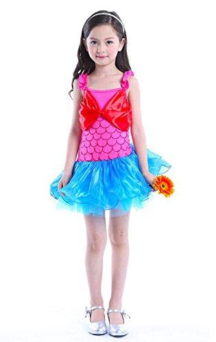 Das beste Kinder Mädchen Prinzessin Kostüm Meerjungfrau Karneval Verkleidung Party Faschungskostüm Schultergurte Kleid Tutu Rock Pink+Blau