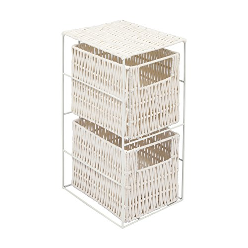 Woodluv 2 Drawer Resin Tower Storage Unit White
