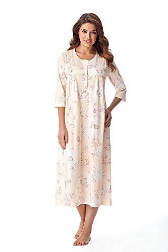 DOROTA Elegantes langes Damen-Nachthemd Sleepshirt mit Alloverdruck auf Pastellfarben, lachs, Gr. L -