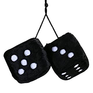 Autool 2PCS 3 inch Retro Square Mirror Hanging Dice, Couple Fuzzy Plush Dice With Dots For Car Interior Ornament Decoration Car Decoration Gift (Black)