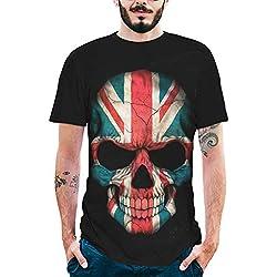 MEIbax Camisetas para Hombre de algodón de Manga Corta con Personalidad Calavera Pintada Impresión Estampado Cuello Redondo Causal Talla Grande Oversize Camisa Tops Deportiva T-Shirt (M, Negro A)