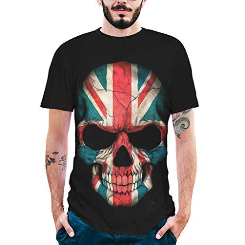 SANFASHION Mix Herren T-Shirt 3D Skull Totenkopf Aufdruck Tankshirt Kurzarm Funky Oberteile Mode 2019