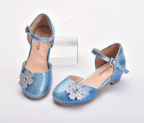 Brinny Sandales Princesse Cuir verni brillant Chaussures à Talon Soirée Ballerine Danse PU Souple avec Fleurs pour Enfant Fille Automne et Printemps Bleu / Argenté Bleu
