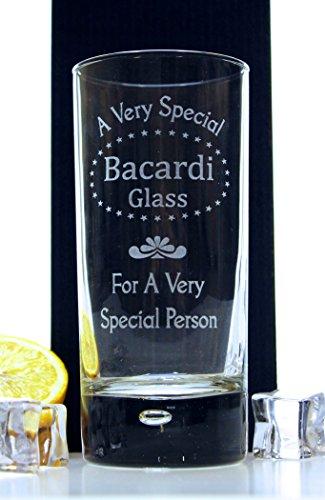 (FBA) grabado diseño de Bacardi–Vaso de tubo cristal–Idea