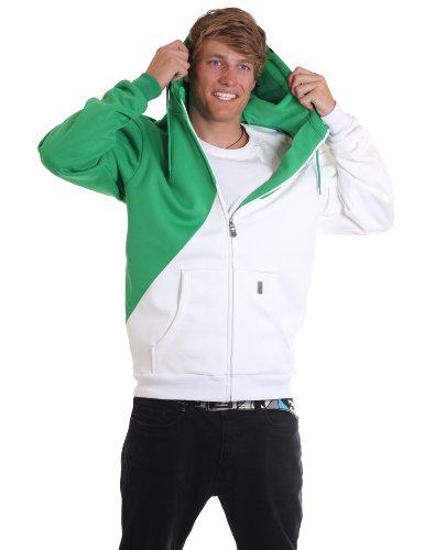 LIGHT Herren Bonded Fleece Kapuzenpullover Corp, kelly green/white, XL