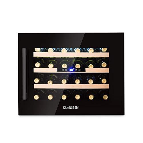 Klarstein Vinsider 24 Onyx Edition - Réfrigérateur à vin avec porte vitrée, rafraîchisseur à vin, armoire à vin, appareil encastré, 24 bouteilles, 5-22°C, écran LED, éclairage intérieur, noir