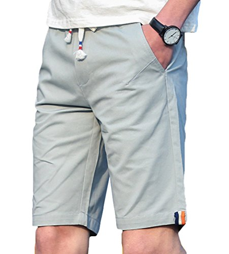 YuanDian Uomo Estate Casual Plus Size Tinta Unita Spiaggia Pantaloncini Coulisse Vita Elastica Chino Bermuda Pantaloni Corti Grigio chiaro