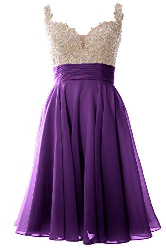 MACloth Strap Donna in pizzo chiffon breve mini vestito da ballo abito da festa di nozze formale Regency