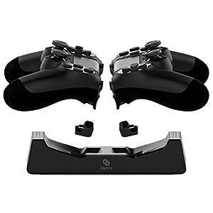CAPCY PS4 Ladestation lädt zwei Playstation 4 Dualshock Controller schnell ohne Kabel, mit LED, platzsparend